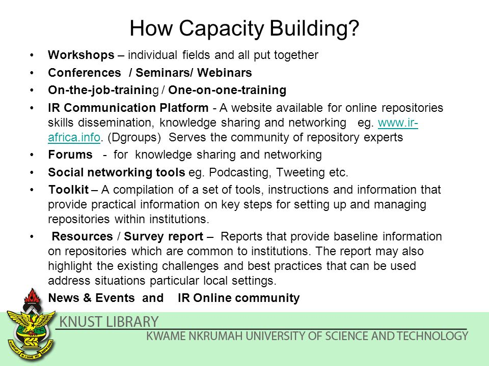 How Capacity Building.