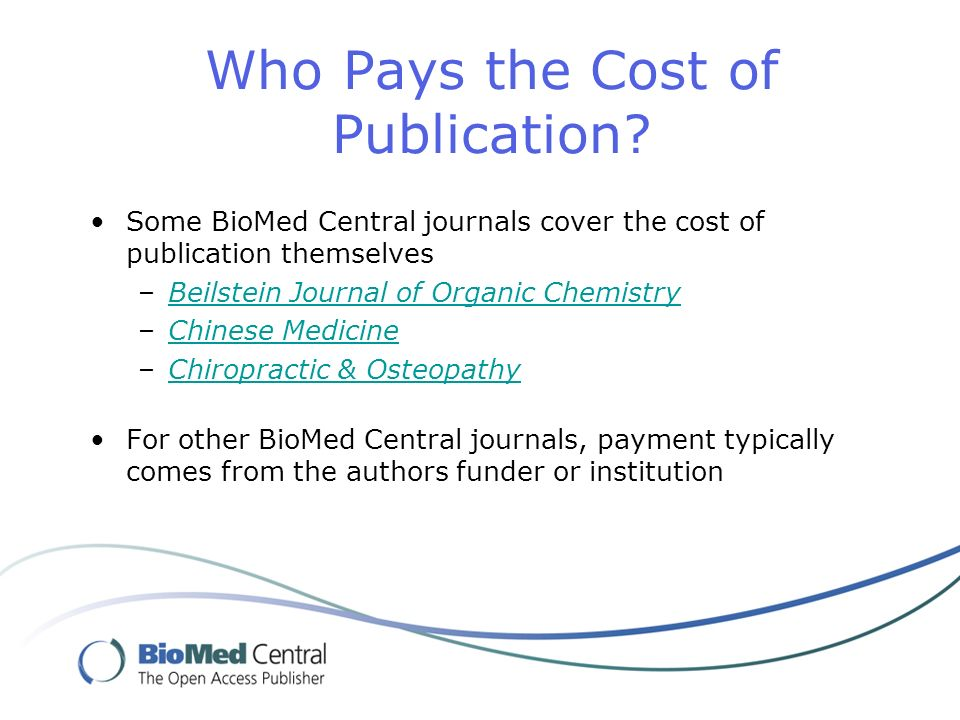 Who Pays the Cost of Publication.