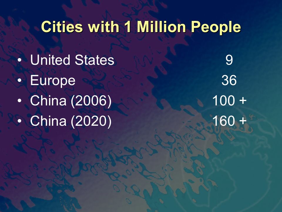Cities with 1 Million People United States Europe China (2006) China (2020) 9 36 100 + 160 +