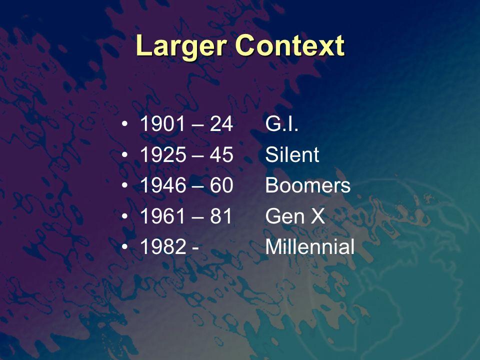 Larger Context 1901 – 24G.I. 1925 – 45Silent 1946 – 60Boomers 1961 – 81Gen X 1982 -Millennial