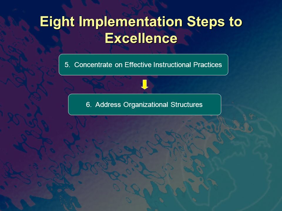 Eight Implementation Steps to Excellence 6. Address Organizational Structures 5. Concentrate on Effective Instructional Practices