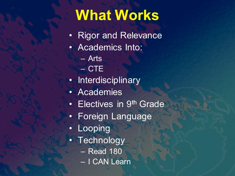 What Works Rigor and Relevance Academics Into: –Arts –CTE Interdisciplinary Academies Electives in 9 th Grade Foreign Language Looping Technology –Rea