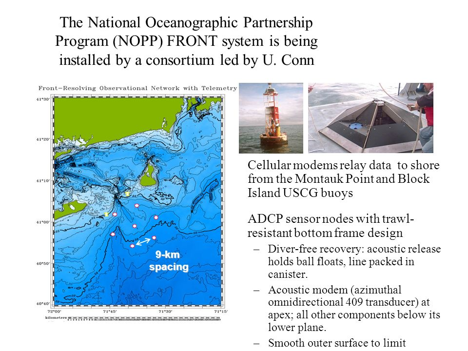 The National Oceanographic Partnership Program (NOPP) FRONT system is being installed by a consortium led by U. Conn Cellular modems relay data to sho