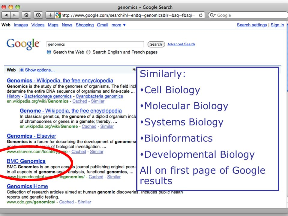 Google pagerank Similarly: Cell Biology Molecular Biology Systems Biology Bioinformatics Developmental Biology All on first page of Google results