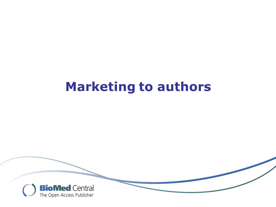 Marketing to authors
