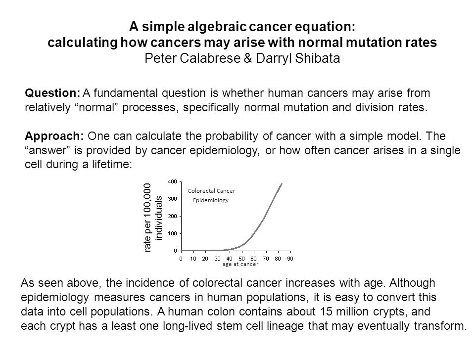 A simple algebraic cancer equation: calculating how cancers may arise with normal mutation rates Peter Calabrese & Darryl Shibata Question: A fundamental question is whether human cancers may arise from relatively normal processes, specifically normal mutation and division rates.