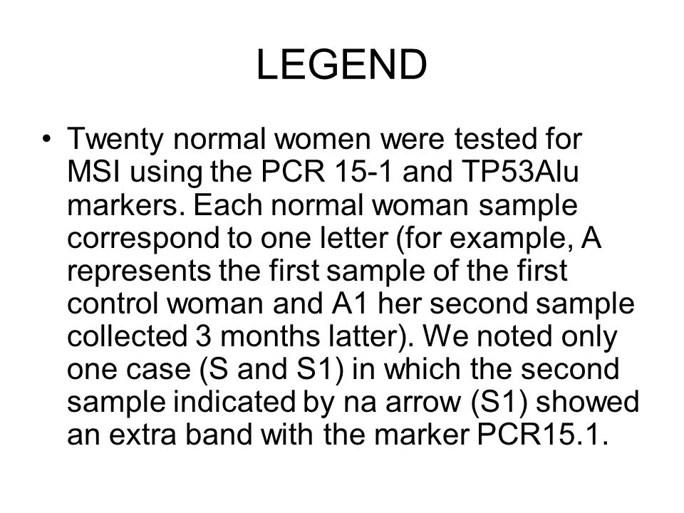 LEGEND Twenty normal women were tested for MSI using the PCR 15-1 and TP53Alu markers.