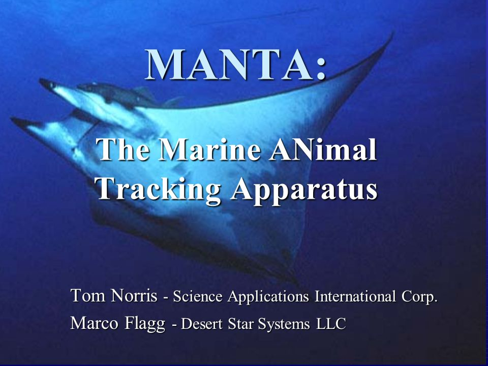 MANTA: The Marine ANimal Tracking Apparatus Tom Norris - Science Applications International Corp.