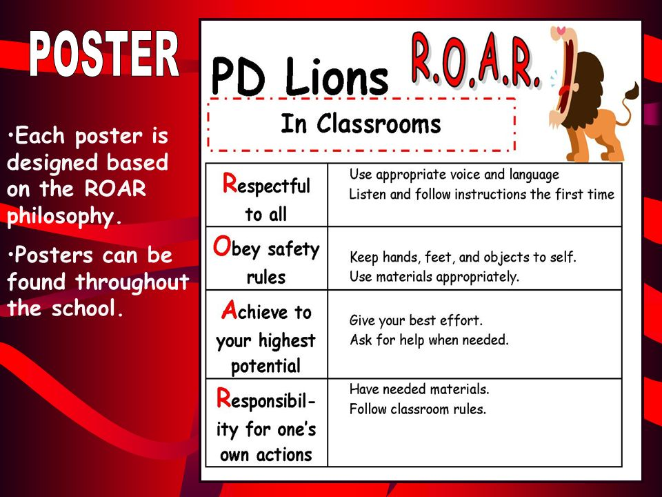 Each poster is designed based on the ROAR philosophy. Posters can be found throughout the school.