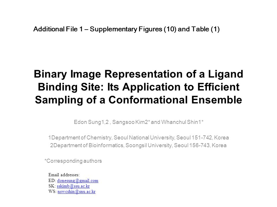 Binary Image Representation of a Ligand Binding Site: Its Application to Efficient Sampling of a Conformational Ensemble Edon Sung1,2, Sangsoo Kim2* and Whanchul Shin1* 1Department of Chemistry, Seoul National University, Seoul 151-742, Korea 2Department of Bioinformatics, Soongsil University, Seoul 156-743, Korea *Corresponding authors Additional File 1 – Supplementary Figures (10) and Table (1) Email addresses: ED: donesung@gmail.comdonesung@gmail.com SK: sskimb@ssu.ac.krsskimb@ssu.ac.kr WS: nswcshin@snu.ac.krnswcshin@snu.ac.kr