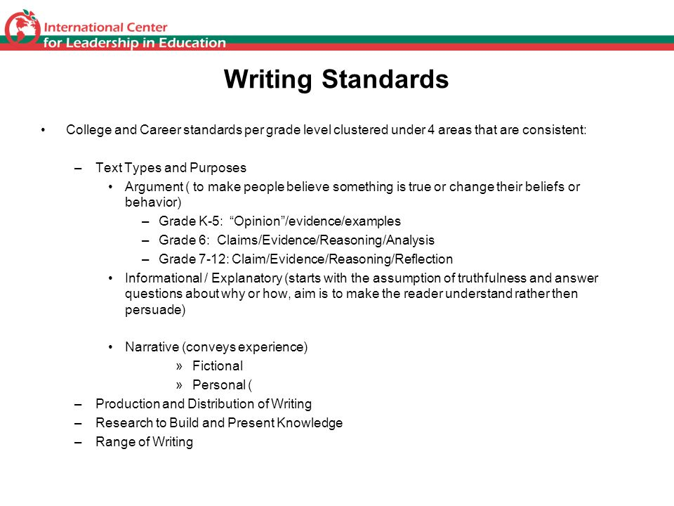 Writing Standards College and Career standards per grade level clustered under 4 areas that are consistent: –Text Types and Purposes Argument ( to mak
