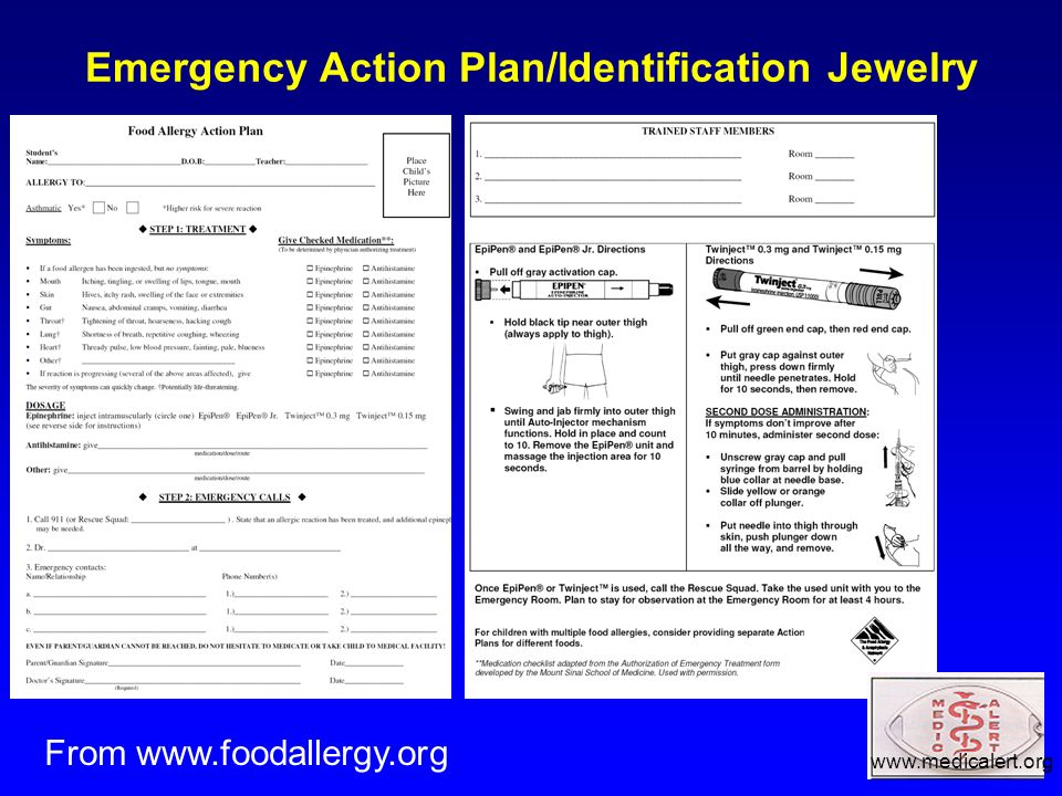 Emergency Action Plan/Identification Jewelry From www.foodallergy.org www.medicalert.org