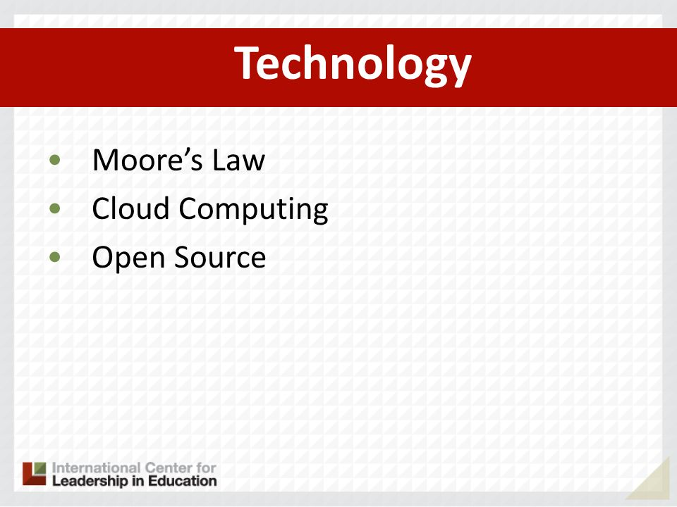 Technology Moores Law Cloud Computing Open Source