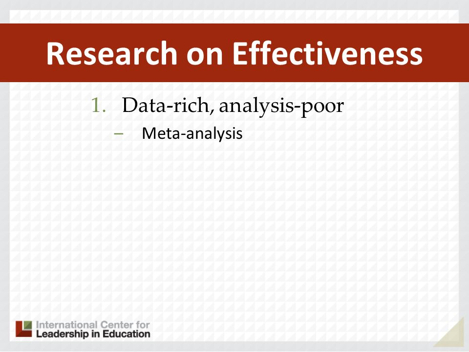 Research on Effectiveness 1.Data-rich, analysis-poor –Meta-analysis