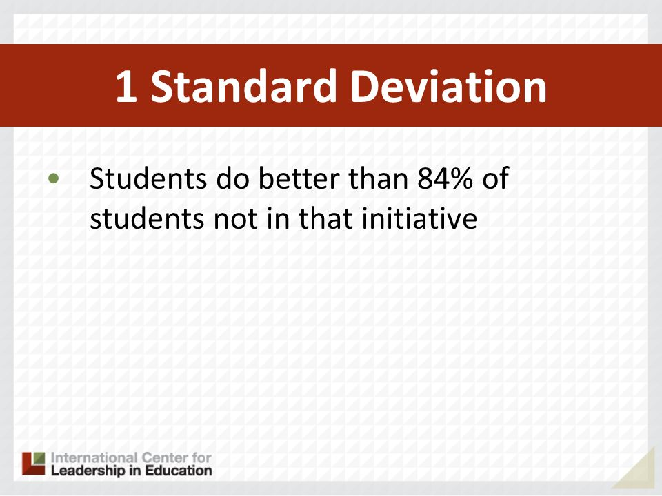 1 Standard Deviation Students do better than 84% of students not in that initiative