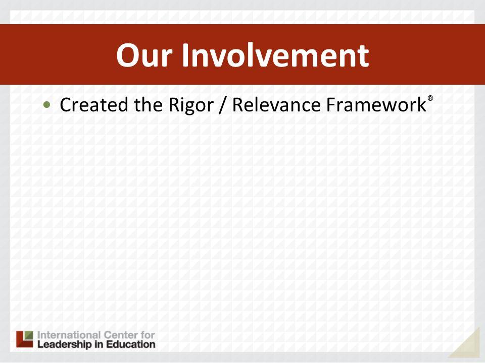 Created the Rigor / Relevance Framework ® Became framework for CCSS and NGA Our Involvement