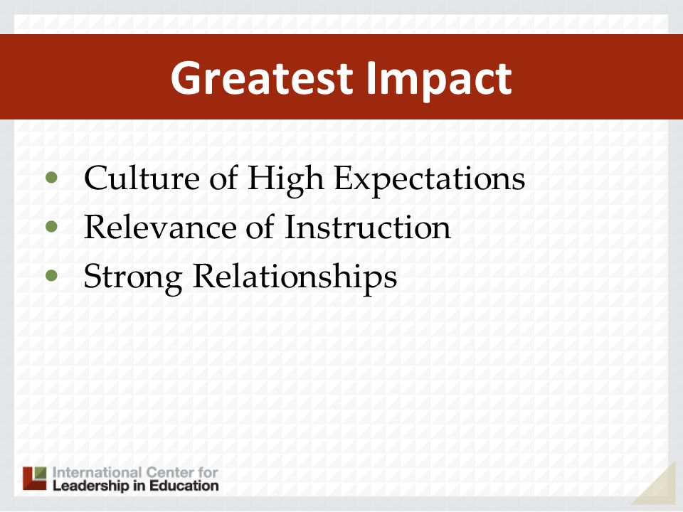 Greatest Impact Culture of High Expectations Relevance of Instruction Strong Relationships