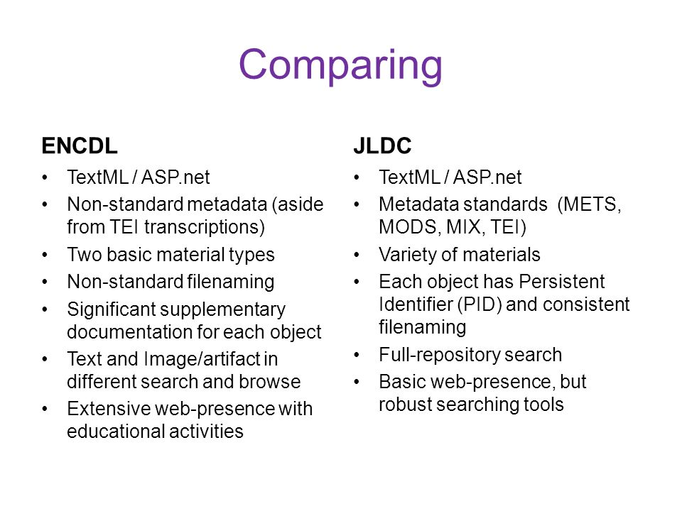 Comparing ENCDL TextML / ASP.net Non-standard metadata (aside from TEI transcriptions) Two basic material types Non-standard filenaming Significant su