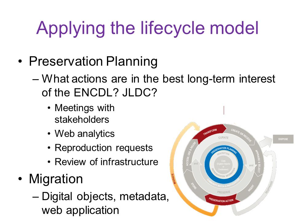 Preservation Planning –What actions are in the best long-term interest of the ENCDL? JLDC? Meetings with stakeholders Web analytics Reproduction reque