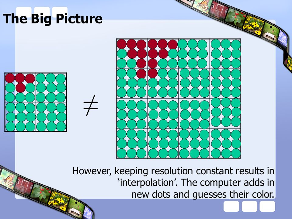 The Big Picture However, keeping resolution constant results in interpolation. The computer adds in new dots and guesses their color.