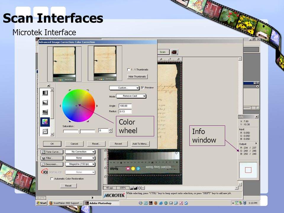 Scan Interfaces Microtek Interface Info window Color wheel