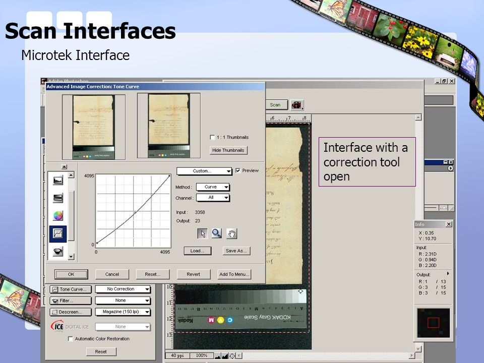 Scan Interfaces Microtek Interface Interface with a correction tool open