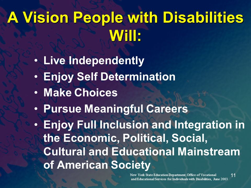 11 A Vision People with Disabilities Will: Live Independently Enjoy Self Determination Make Choices Pursue Meaningful Careers Enjoy Full Inclusion and