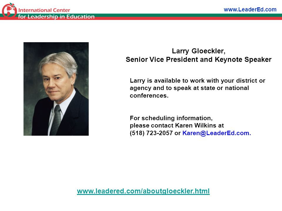 Larry is available to work with your district or agency and to speak at state or national conferences. For scheduling information, please contact Kare