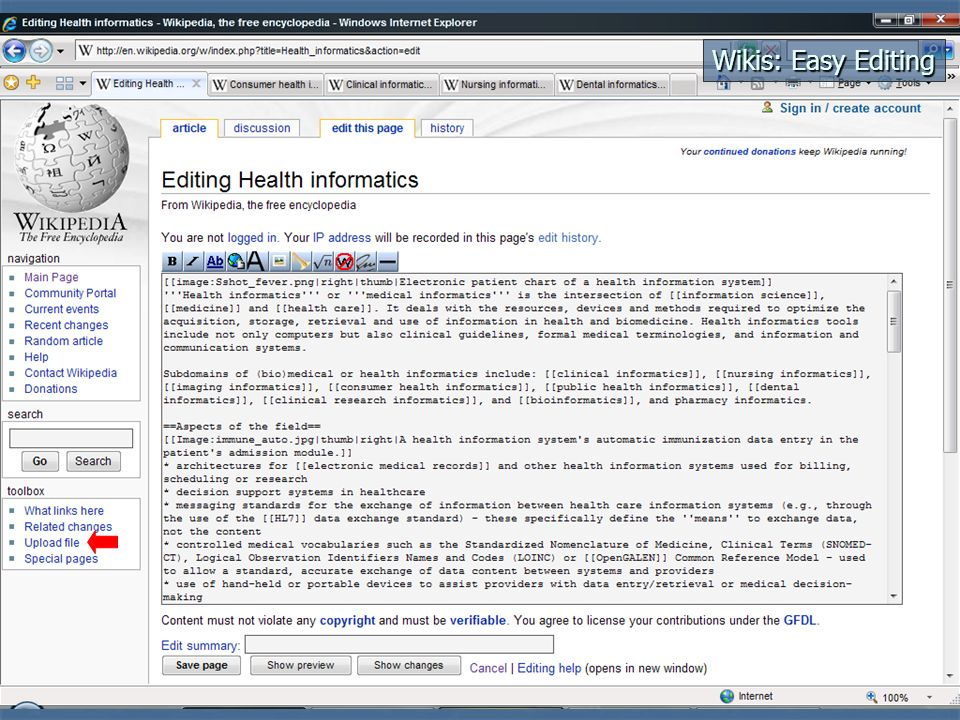 Health Informatics Entry in Wikipedia
