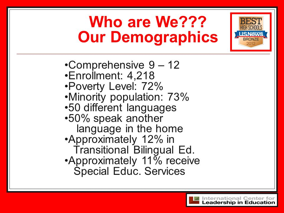 Comprehensive 9 – 12 Enrollment: 4,218 Poverty Level: 72% Minority population: 73% 50 different languages 50% speak another language in the home Appro
