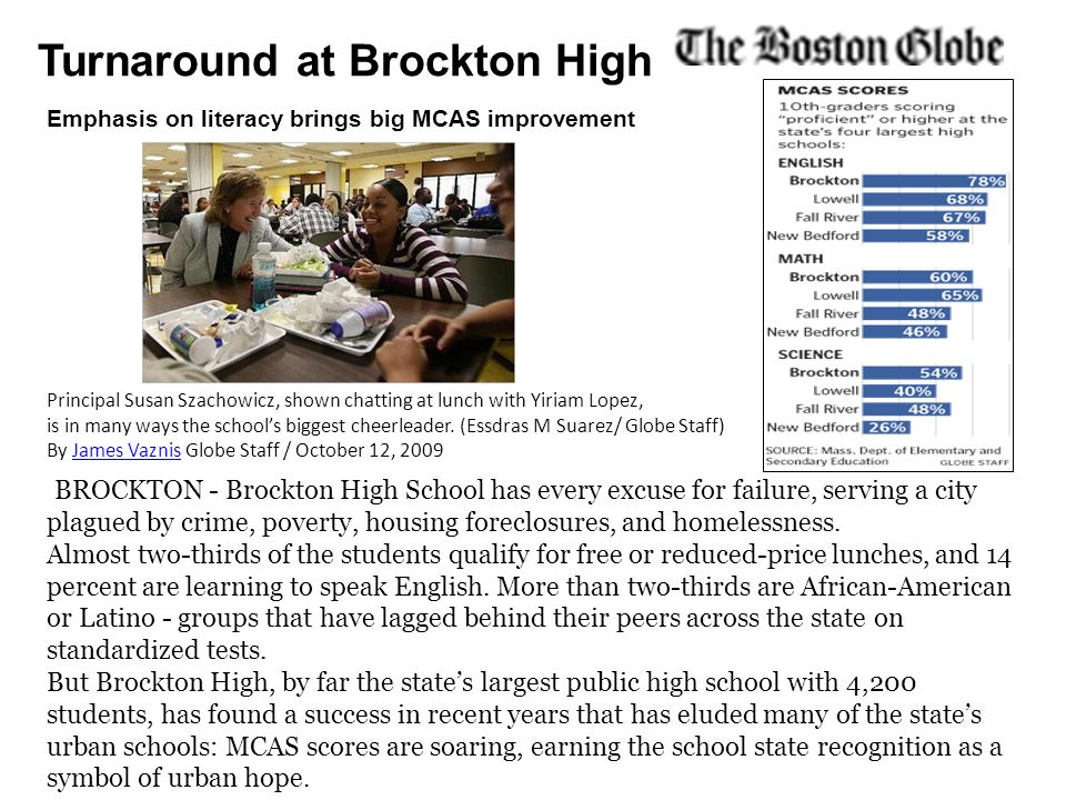 Turnaround at Brockton High BROCKTON - Brockton High School has every excuse for failure, serving a city plagued by crime, poverty, housing foreclosur