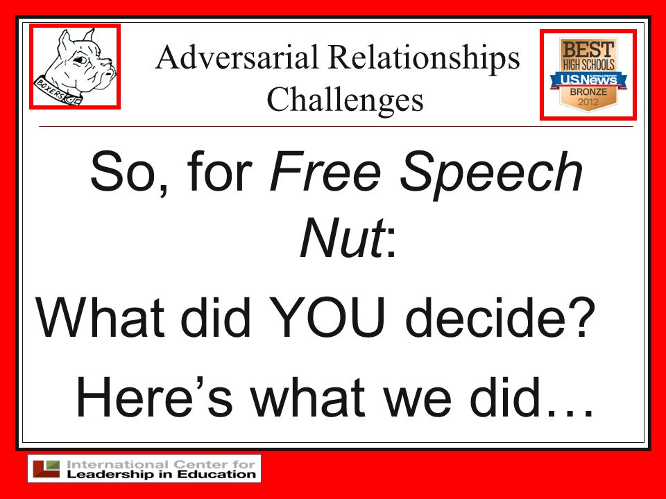 Adversarial Relationships Challenges So, for Free Speech Nut: What did YOU decide? Heres what we did…