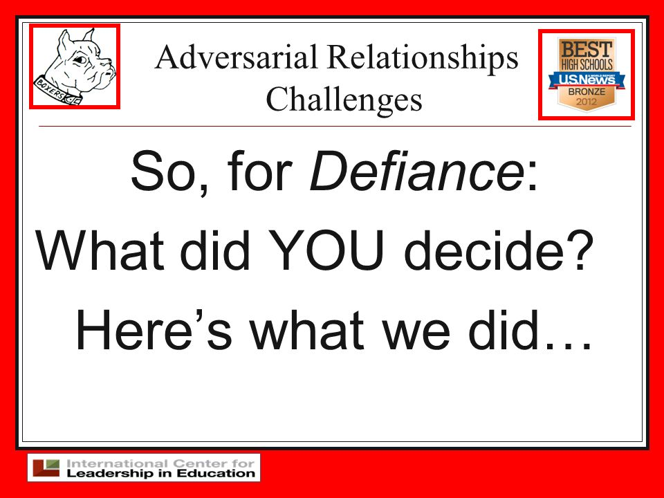 Adversarial Relationships Challenges So, for Defiance: What did YOU decide? Heres what we did…