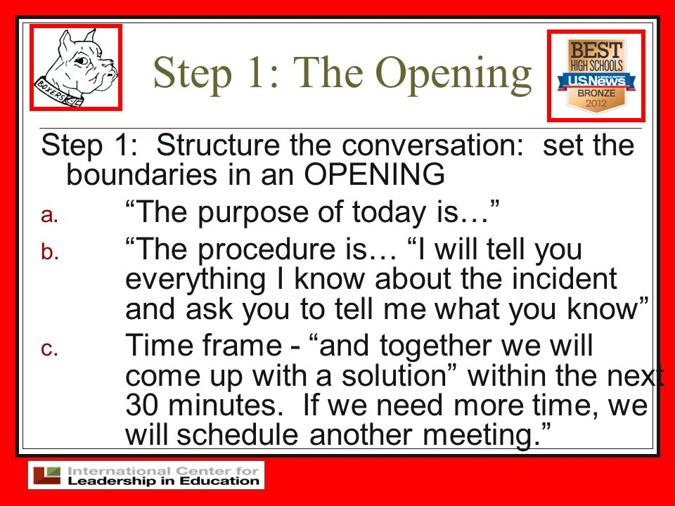 Step 1: The Opening Step 1: Structure the conversation: set the boundaries in an OPENING a. The purpose of today is… b. The procedure is… I will tell