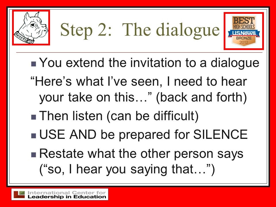 Step 2: The dialogue You extend the invitation to a dialogue Heres what Ive seen, I need to hear your take on this… (back and forth) Then listen (can