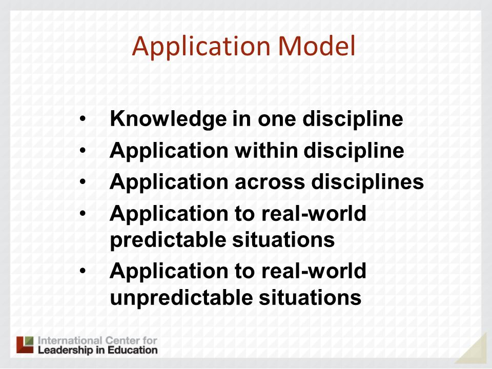 Knowledge in one discipline Application within discipline Application across disciplines Application to real-world predictable situations Application