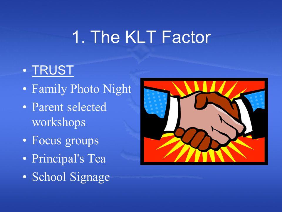 1. The KLT Factor TRUST Family Photo Night Parent selected workshops Focus groups Principal's Tea School Signage