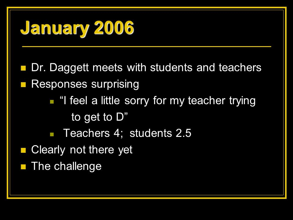 January 2006 Dr. Daggett meets with students and teachers Responses surprising I feel a little sorry for my teacher trying to get to D Teachers 4; stu