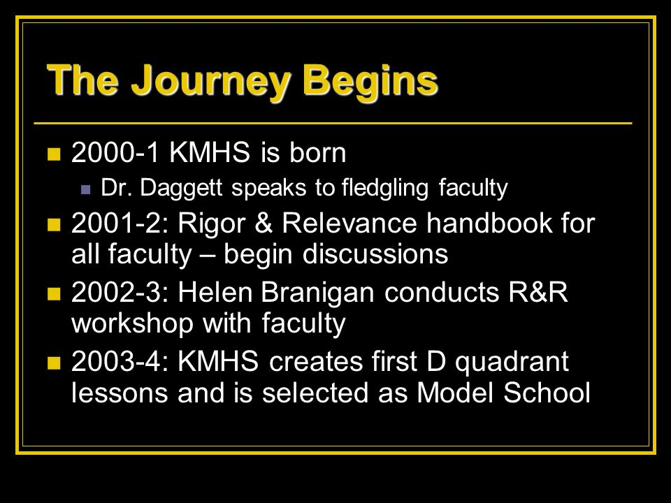 The Journey Begins 2000-1 KMHS is born Dr. Daggett speaks to fledgling faculty 2001-2: Rigor & Relevance handbook for all faculty – begin discussions