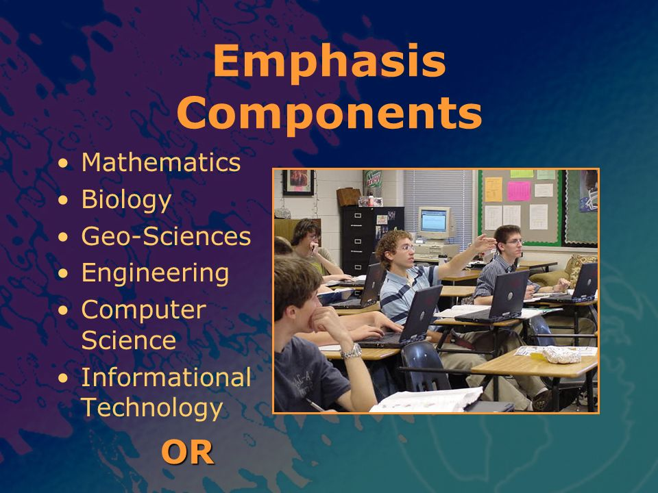 Mathematics Biology Geo-Sciences Engineering Computer Science Informational Technology OR Emphasis Components