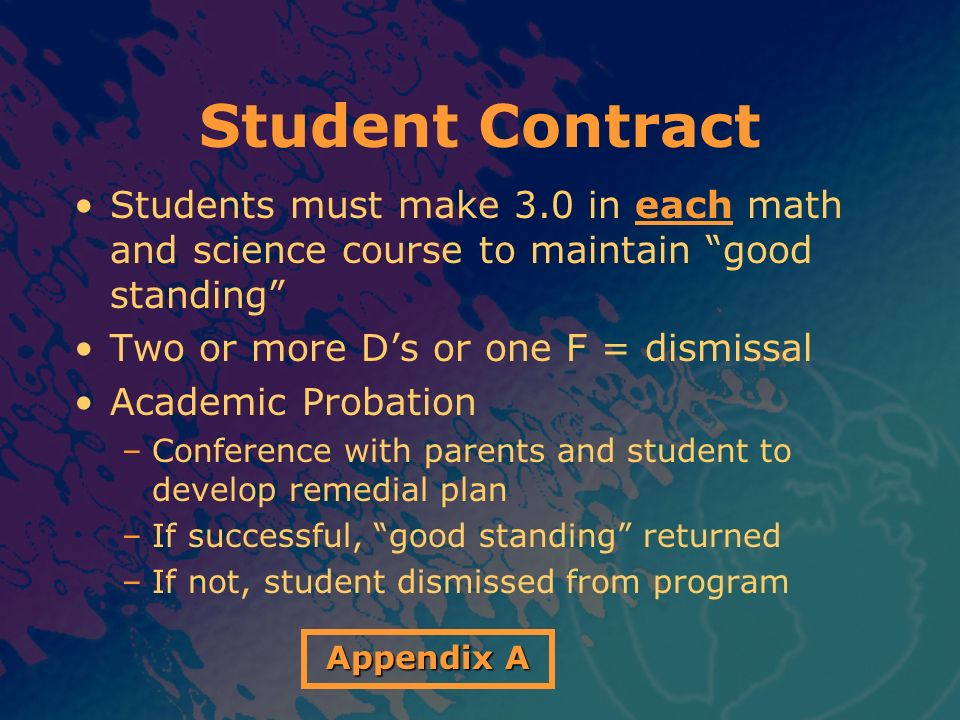 Student Contract Students must make 3.0 in each math and science course to maintain good standing Two or more Ds or one F = dismissal Academic Probati