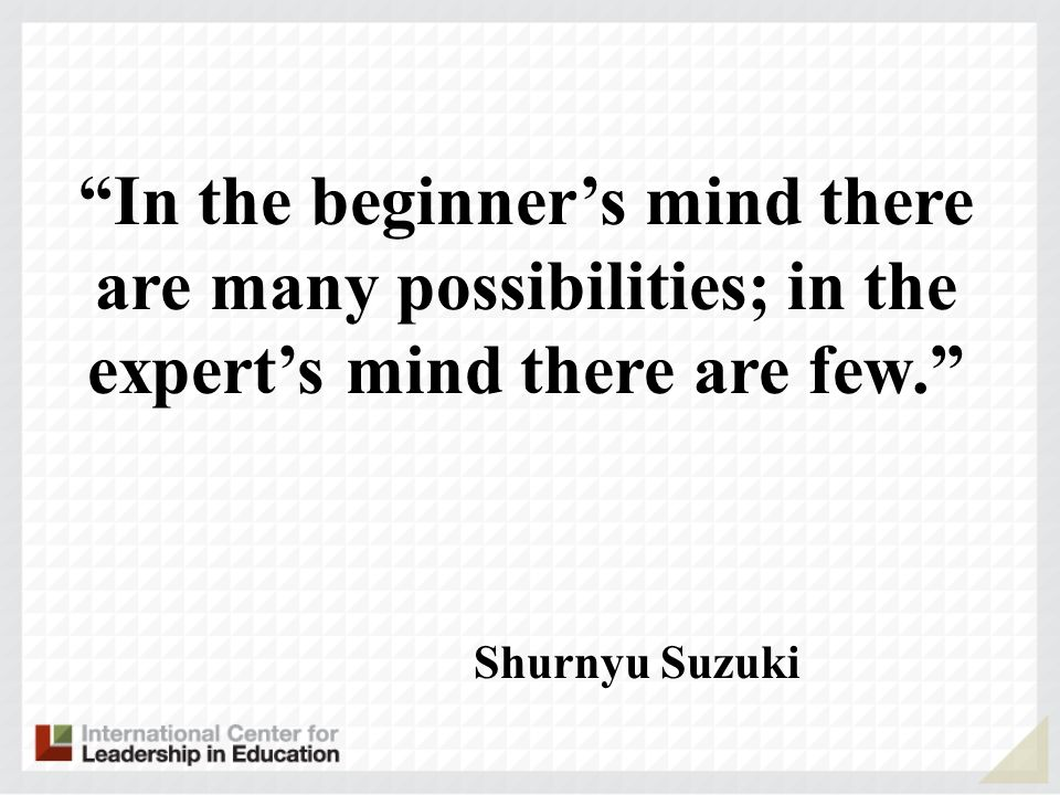 Shurnyu Suzuki In the beginners mind there are many possibilities; in the experts mind there are few.