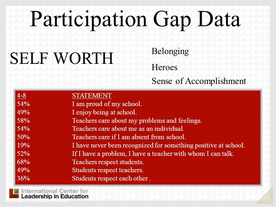 SELF WORTH Belonging Heroes Sense of Accomplishment 4-89-12STATEMENT 54%49%I am proud of my school. 49%49%I enjoy being at school. 58%41%Teachers care