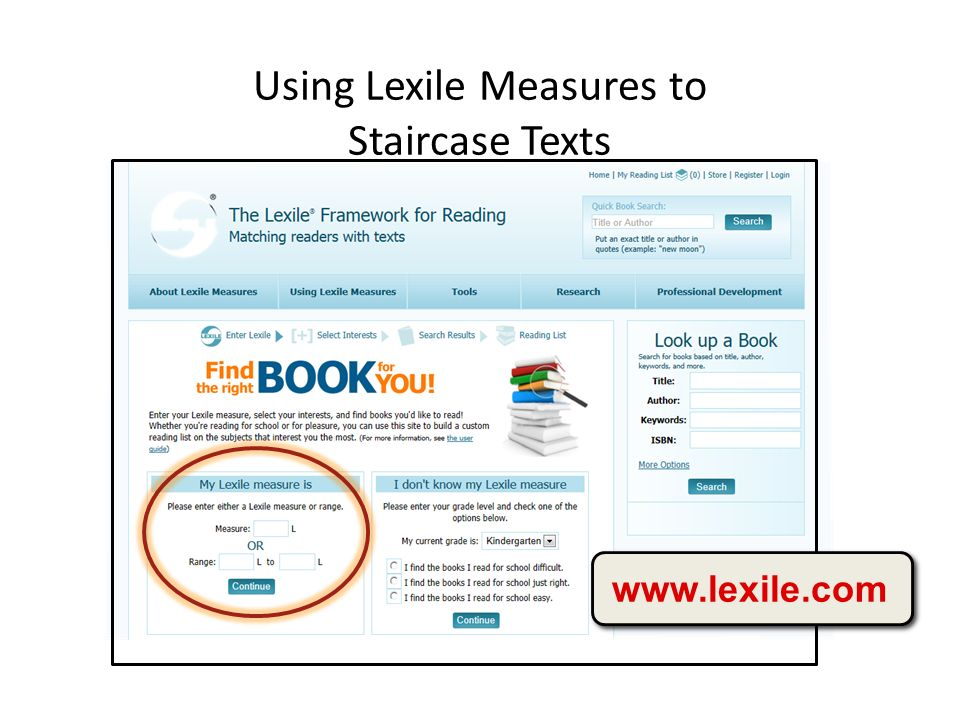 Using Lexile Measures to Staircase Texts www.lexile.com