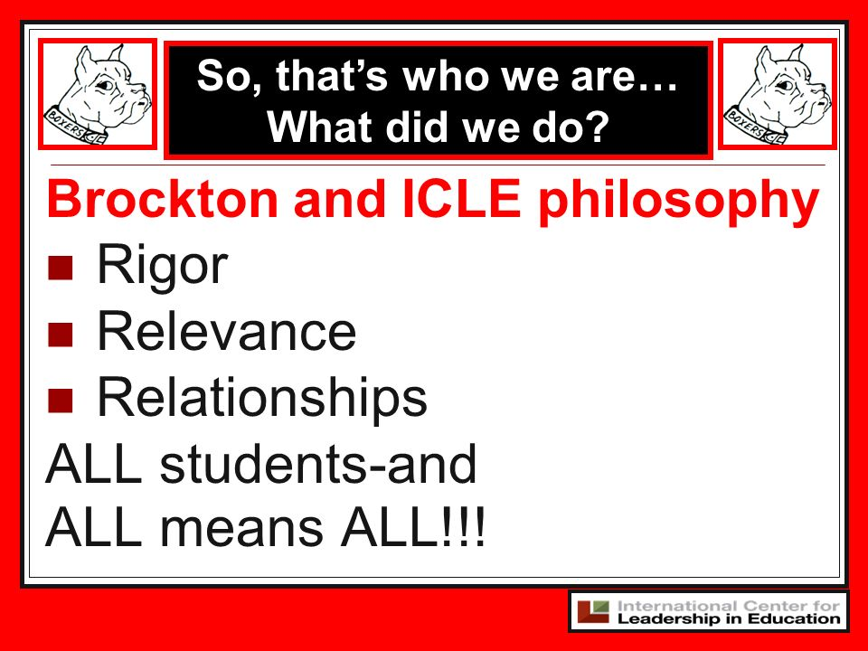 Brockton and ICLE philosophy Rigor Relevance Relationships ALL students-and ALL means ALL!!! So, thats who we are… What did we do?