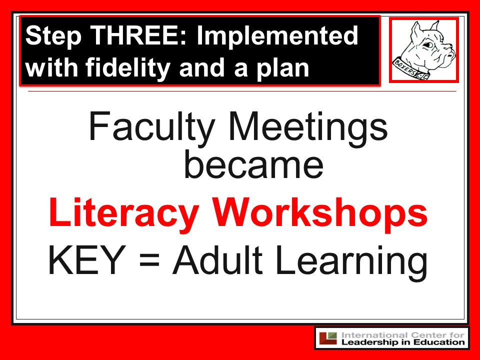 Faculty Meetings became Literacy Workshops KEY = Adult Learning Step THREE: Implemented with fidelity and a plan
