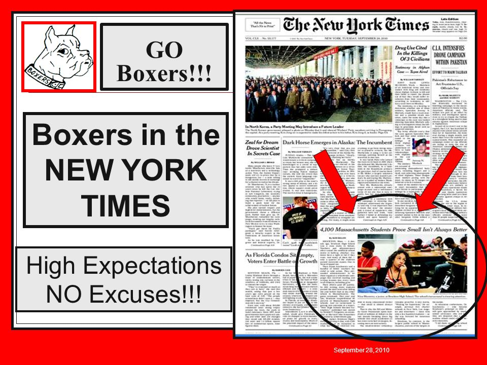 GO Boxers!!! September 28, 2010 Boxers in the NEW YORK TIMES High Expectations NO Excuses!!!