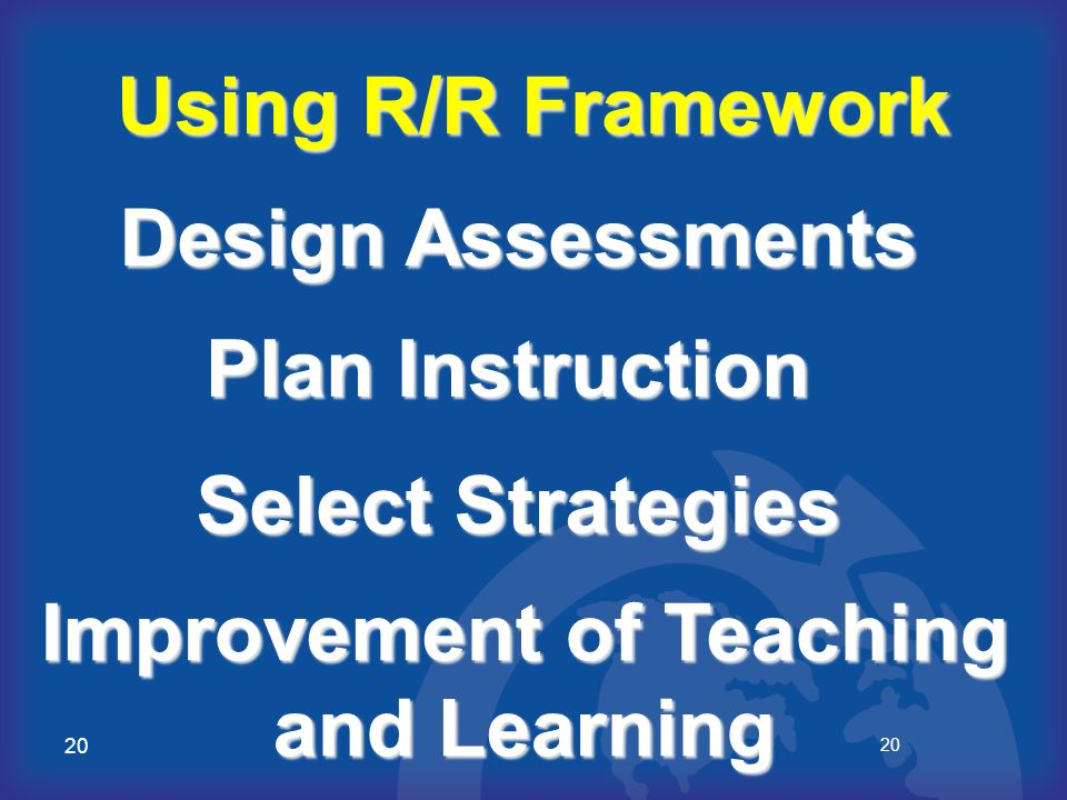 20 Using R/R Framework Design Assessments Select Strategies Plan Instruction Improvement of Teaching and Learning