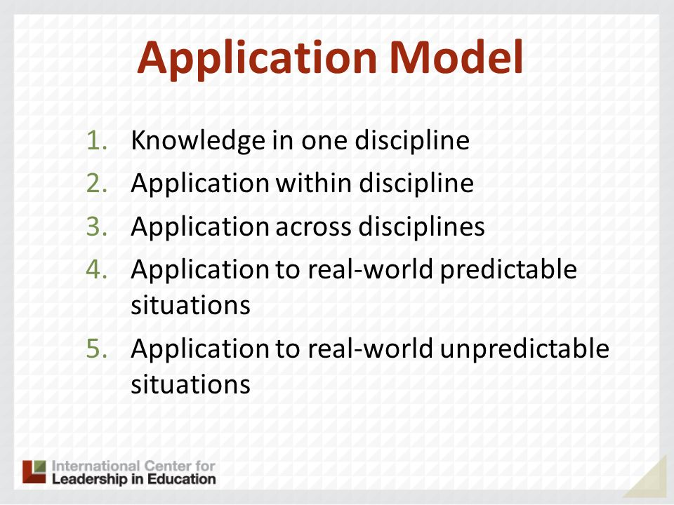 Application Model 1.Knowledge in one discipline 2.Application within discipline 3.Application across disciplines 4.Application to real-world predictable situations 5.Application to real-world unpredictable situations