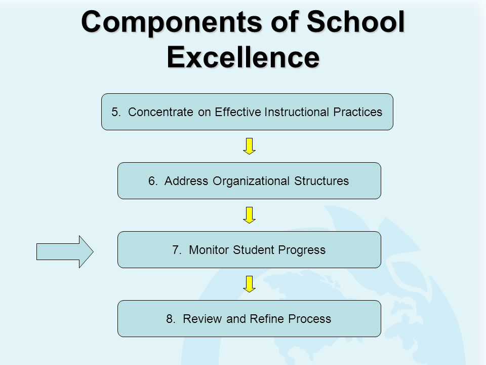 Components of School Excellence 6. Address Organizational Structures 7. Monitor Student Progress 5. Concentrate on Effective Instructional Practices 8